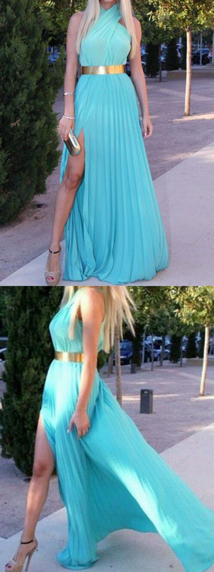 Blue Pleated Halter Maxi Dress With High Slit For that awesome goddess look!