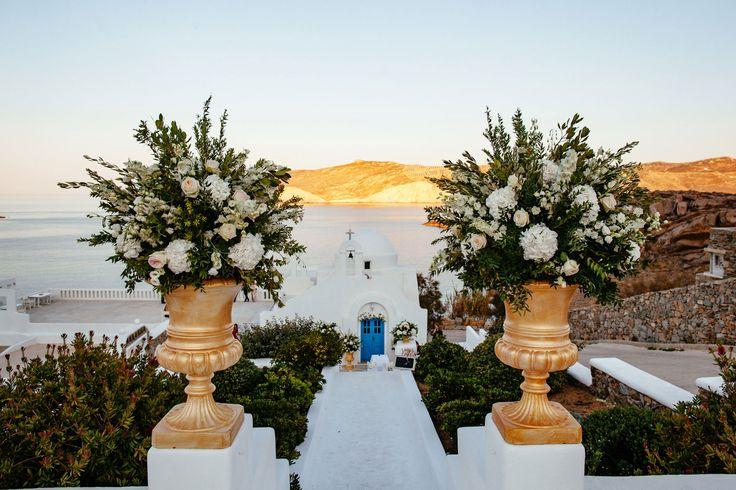 Elegant Church Decoration : White hydrangeas, lycianthus, eucalyptus and freesias!