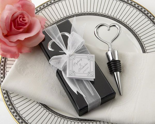 Our Silver Heart Wine Bottle Stopper makes a lovely gift or wedding favor.  Classic, simple, and practical! Chrome bottle stopper is solid chrome, with a notable weight and lasting quality.