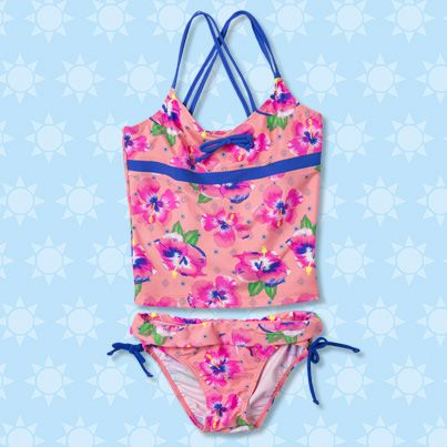 Pumpkin Patch Hibiscus Tankini - available in sizes 5 to 12 years http://www.pumpkinpatchkids.com/