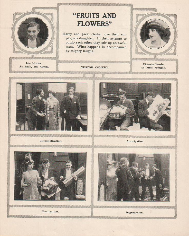 Fruits and Flowers Nestor Comedy |Eddie Lyons Lee Moran Victoria Forde 1914 Ad