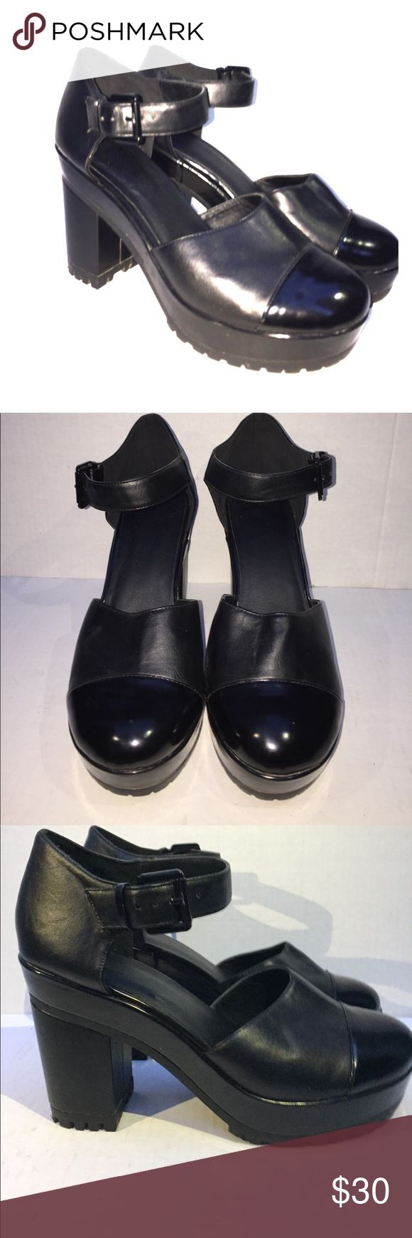 Asos black chunky platform heels Black, only worn a few times, from asos ! The bottom says 7 but the shoes are actually a 9! ASOS Shoes Heels