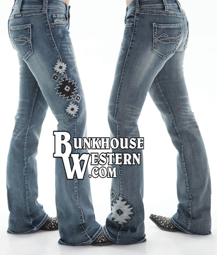 @cowgirltuffco Aztec II Jeans, Black & White Stitching, Medium Wash, Cowgirl, Rock N Roll, Miss Me, $99.99, http://bunkhousewestern.com/azt