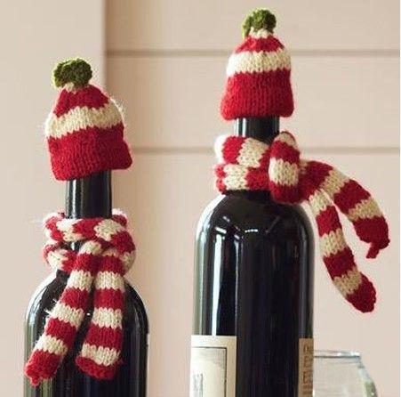 Decorar botellas para Navidad con telas recicladas » http://decoracionnavidad.net/decorar-botellas-para-navidad-con-telas-recicladas/