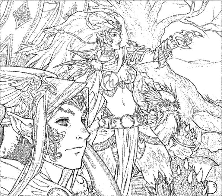 adult fantasy coloring page