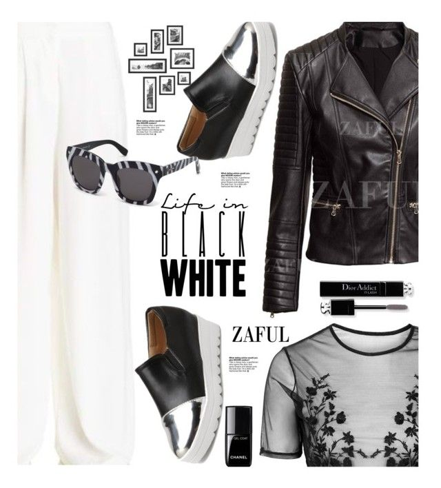 """Zaful.com: Life in Black and White"" by hamaly ❤ liked on Polyvore featuring мода, Topshop, Dsquared2, Christian Dior, Chanel, shoes, ootd, leatherjackets, wideleg и zaful"