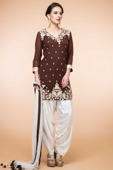 5883d05c53 Brown Silk Patiala Suit With Dupatta - 1866 | Andaaz Fashion New ...