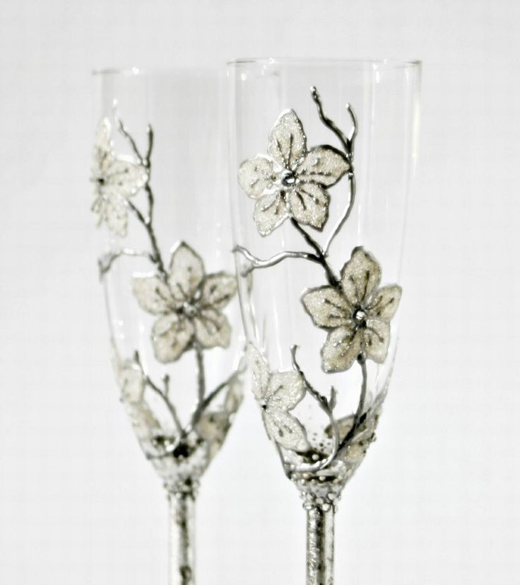 Snow White Flowers Wedding Champagne Flutes Hand By NevenaArtGlass