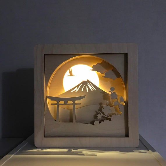 Schattenbox Lampe Schattenkastenleuchte Holznachtlicht Leuchtk Etsy In 2020 Shadow Box Art Shadow Box Night Light Kids