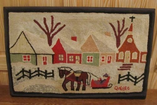 Vintage Hooked RUG Country Scene Town Horse Sleigh signed Quebec | eBay (from Bucks PA estate)