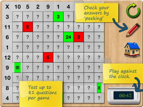 Times Tables ($2.99 - sale FREE on 3/14/14) presents students with a random grid of 81 spaces asking multiplication questions from numbers 1 through 12. Unlike flash card methods, individual tables or multiple choices, students must use their knowledge to commit to a specific answer.  Students complete each answer using the monkey calculator, promoting calculator skills as a bonus.