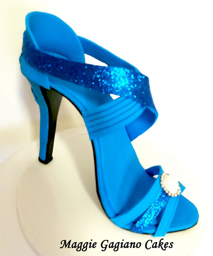 Blue Fondant High Heel Shoe