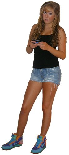 While she clearly needs to change her shorts and tank top for something more professional, what else should she leave at home? (Her sneakers! Also her phone. Having a phone with you for safety reasons is a good idea, but turn it off during the interview or leave it locked in the car.)