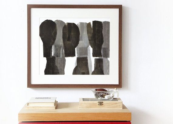Simple Abstract Silhouettes Black and White by BorianaMihailovska, $30.00