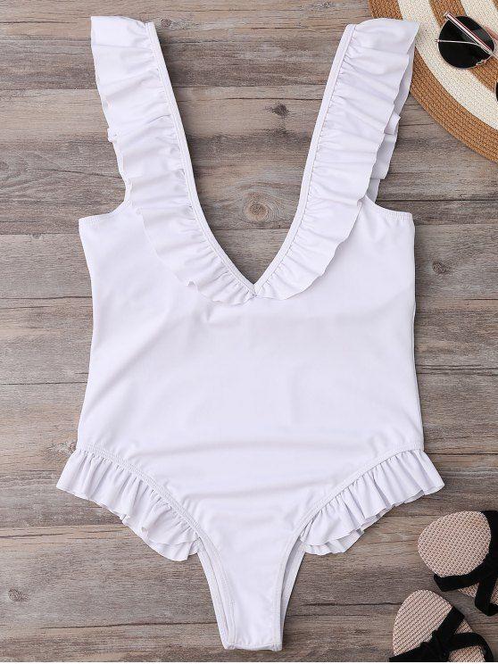 Plunging cuello Ruffle correa traje de baño de novia - Blanco M