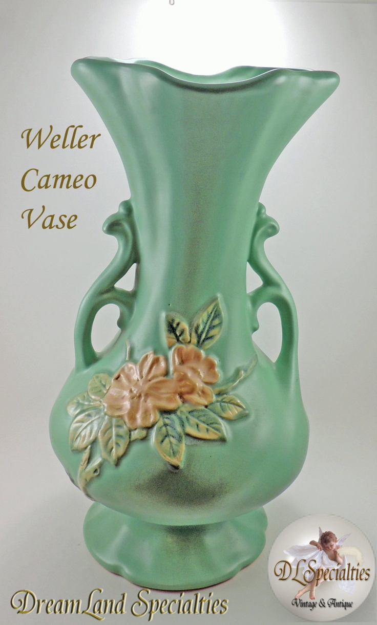Antique Large Weller Pottery Pristine Double Handle Floral Cameo Vase.