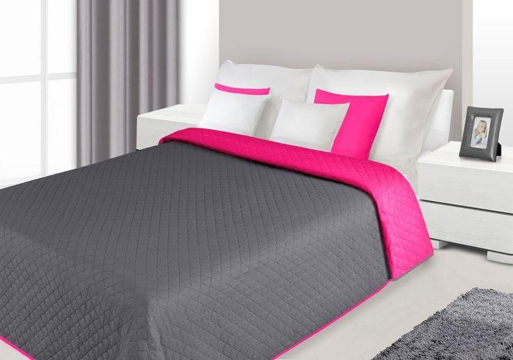 Narzuty dwustronne w kolorze szaro amarantowym na łóżko