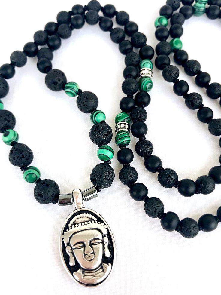 Buddha Mala necklace, Black lava malachite necklace, Mens mala necklace, Meditation necklace, 108 Beads Mala, Yoga mala, Spiritual Mala by Katiaicrafts on Etsy