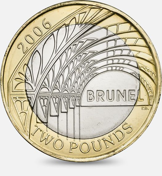 1806-1859 ISAMBARD KINGDOM BRUNEL PADDINGTON STATION - 2006 http://www.royalmint.com/discover/uk-coins/coin-design-and-specifications/two-pound-coin/2006-paddington-station