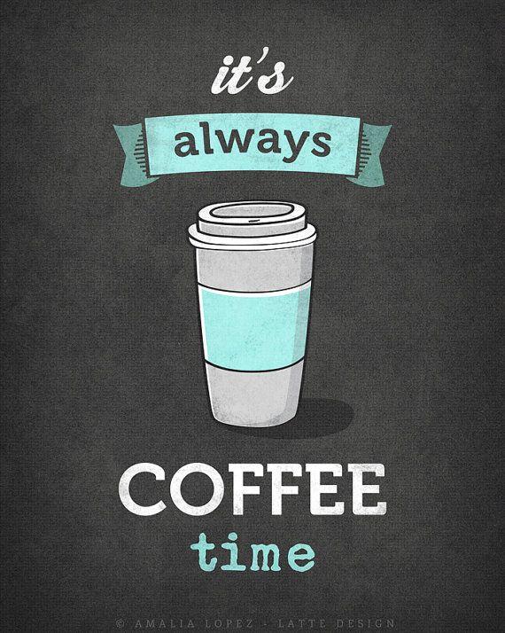 It's always coffee time. Grey Coffee print Grey door LatteDesign