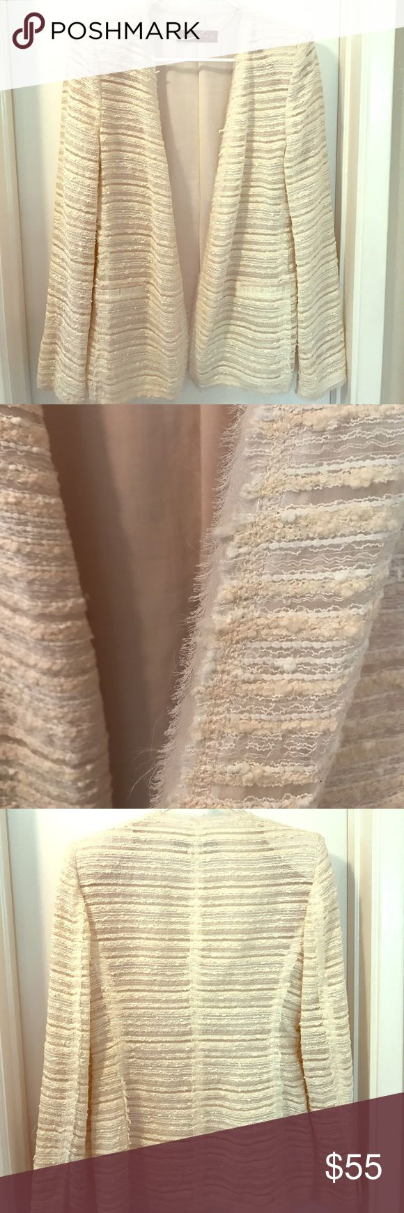 Zara jacket Cream/white Zara open jacket. Does not close, has small shoulder pads to provide shape. Falls just above the waist when worn. Zara Jackets & Coats
