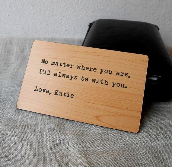 Wallet Insert Card, Custom Wallet Insert, Personalized Engraved Wallet Insert, Mens Gift, 5th Wood Anniversary Gift, No Character Limit on Etsy, $14.00