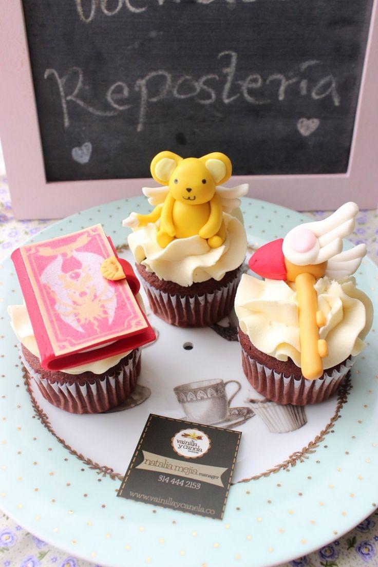 Cupcakes Decorados con los personajes del anime de Sakura Card Captor, podemos hacerlos como mas te gusten. - Tienda Vainilla y Canela Repostería - Tortas, Cupcakes, Galletas, Donas personalizadas.