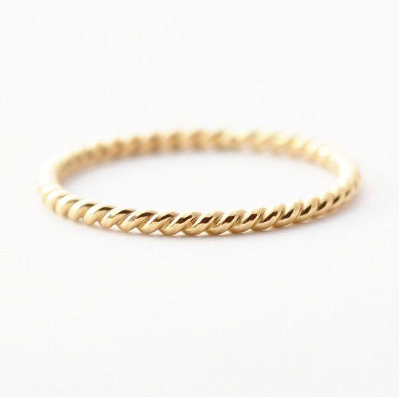 18K Gold Ring: geflochten Ehering für Frauen von BlueRidgeNotions