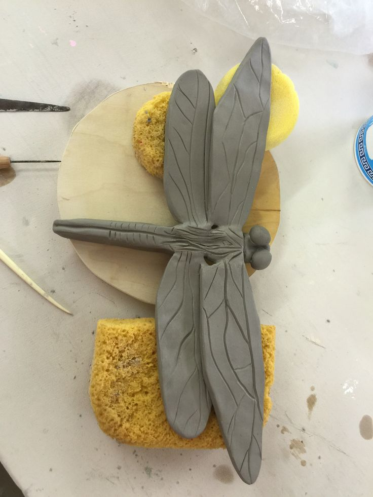 Dragonfly I made today for the garden, will eventually be on a stake or on a flower form. I love hand-building little creatures <3  Original work by Alix 4.28.16