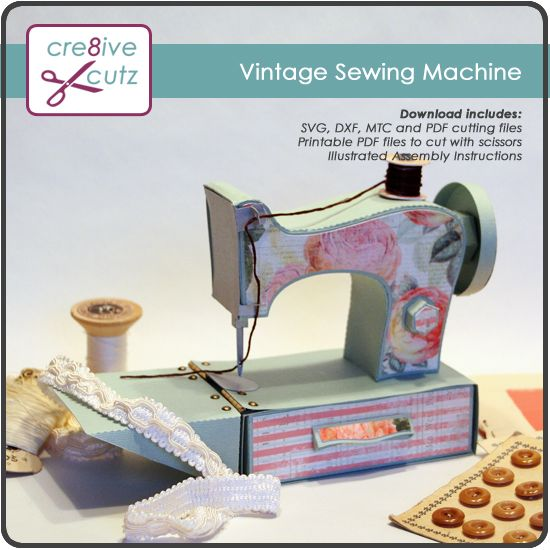 Lots of cute .99c svg patterns... 3D Vintage Sewing Machine