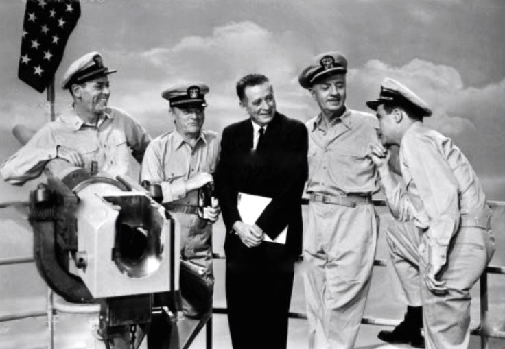 Henry Fonda, James Cagney, producer Leland Hayward, William Powell, and Jack Lemmon during a promo session for Mister Roberts