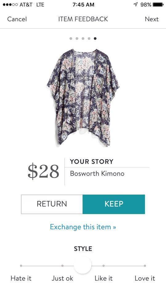 Your Story Bosworth Kimono. I love Stitch Fix! A personalized styling service and it's amazing!! Simply fill out a style profile with sizing and preferences. Then your very own stylist selects 5 pieces to send to you to try out at home. Keep what you love and return what you don't. Only a $20 fee which is also applied to anything you keep. Plus, if you keep all 5 pieces you get 25% off! Free shipping both ways. Schedule your first fix using the link below! #stitchfix @stitchfix. Stitchfix…