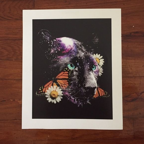 """Floral Cougar Art Print Brand new, got as a present but couldn't find the right wall space for it. Made by local Los Angeles graphic artist. 12 X 10"""" inches. Urban Outfitters Other"""