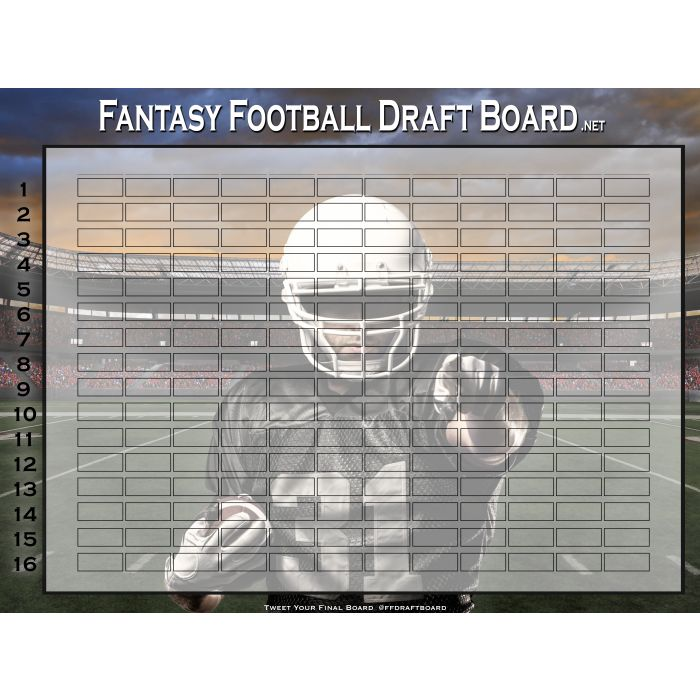 Premium Color Fantasy Football Draft Board | Hall of Fame Draft Kit