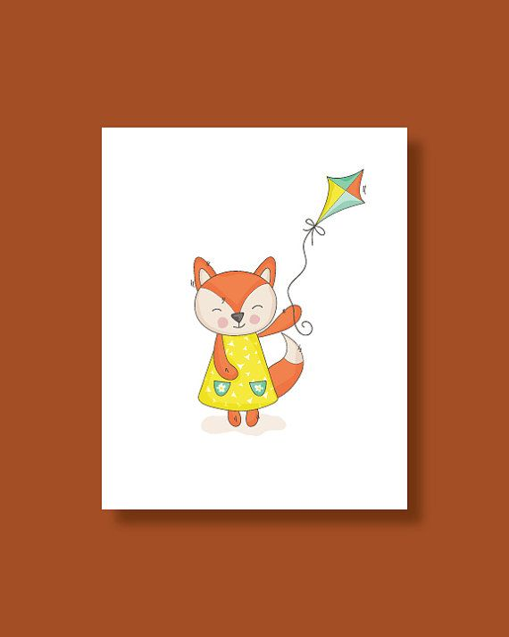 Baby Fox Nursery Art, Baby Fox Kite Fly..:)  Original nursery decor and wall art for babies and kids room! This sweet nursery art will look
