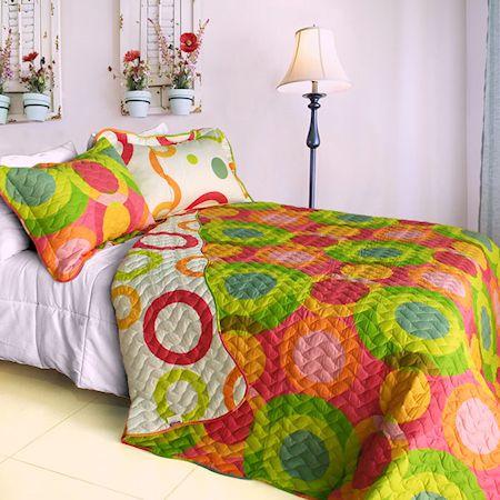 Modern Circles Hot Pink Lime Green Teen Girl Bedding Twin Full/Queen King Quilt Set - Emma