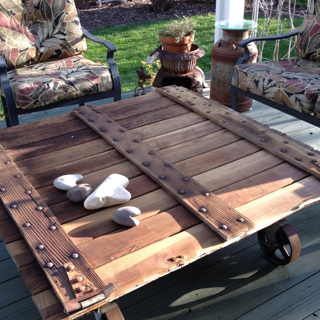 Homemade Coffee Table For The Patio. Wheels From Army/Navy Surplus Store.  Found Part 59