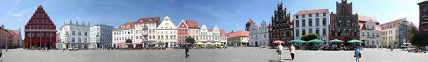 Market square of Greifswald Northern Germany Brick Gothic Town houses  #architecture #market #square #greifswald #northern #germany #brick #gothic #town #houses #photography
