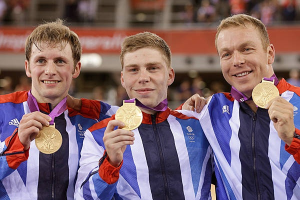 Great Britain team Gold Philip Hindes (Left), Chris Hoy (right) and Jason Kenny in Cycling - Men's team Sprint
