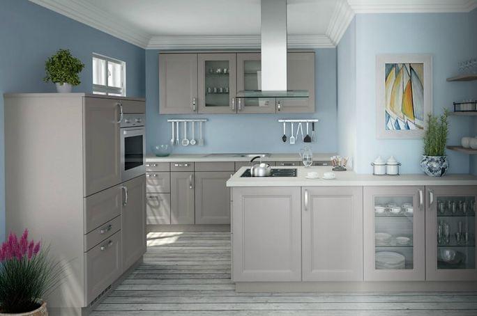 Blauwe, landelijke keuken