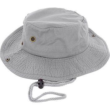 100% Cotton Boonie Fishing Bucket Men Safari Summer String Hat Cap (15+ Colors) Gray L/XL