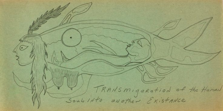 "This is one of approximately sixty drawings Morrisseau completed while imprisoned in Kenora Jail for a short time in the early 1970s. Morrisseau, ""Transmigration of the Human Soul into Another Existence,"" 1972–73, National Gallery of Canada. #ArtCanInstitute"
