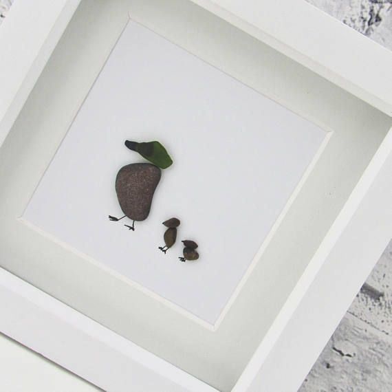 RESERVED christmas gift pebble art pebble picture sea glass
