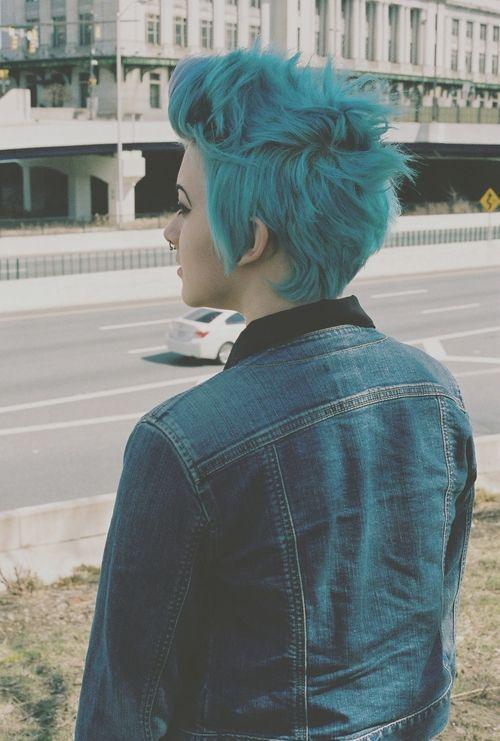 Blue Faux Pixie hawk