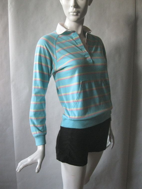 Vintage 1980's long sleeve polo shirt pale by afterglowvintage, $26.00