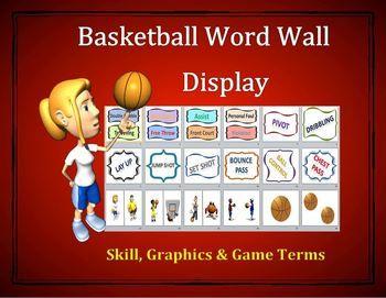 Basketball Word Wall Display: Skill, Graphics & Game Terms