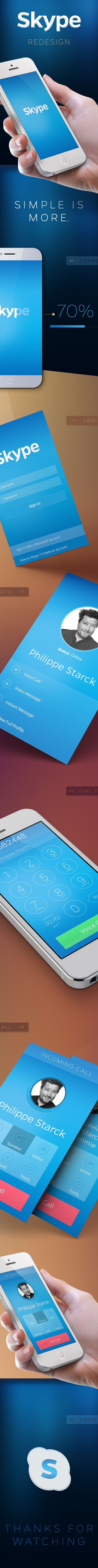 Skype iOS7 Redesign by Guillaume Marc, via Behance