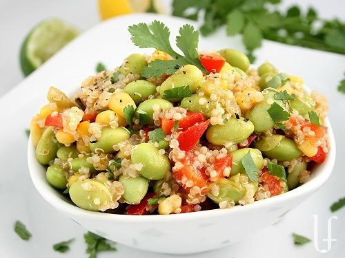 QUINOA CORN EDAMAME SALAD  These are fabulously complex carbs that give staying power to fuel you up.  And the added protein from the quinoa and the edamame keeps you full longer.   (You could add some diced chicken to this, if you felt so inclined.)