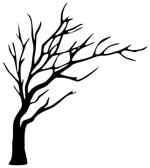 leafless tree silhouette to paint in the bathroom and put hooks on the branches - Simple Outline Pictures