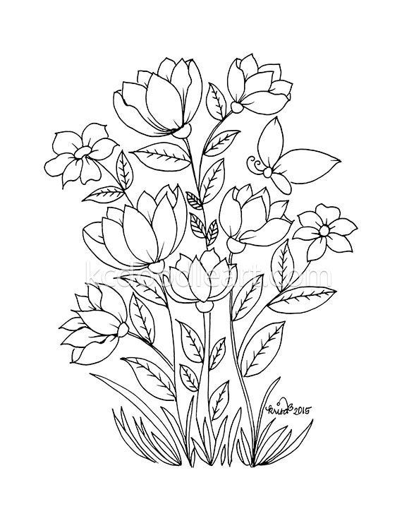 Instant Digital Download Coloring Pages For Adults Flower Designs Flower Drawing Flower Coloring Pages Coloring Pages
